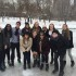 The Harvard Model Congress Team stops to take a group photo while celebrating senior Jane Lindsay's birthday on the ice.