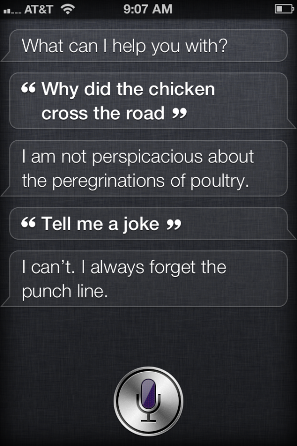 Siri may be practical, but she also has a sense of humor.