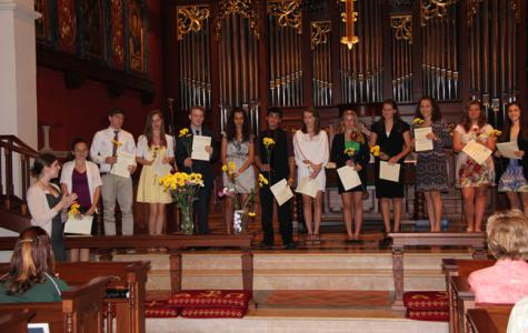 National Honor Society inductees celebrate their scholarly achievements.
