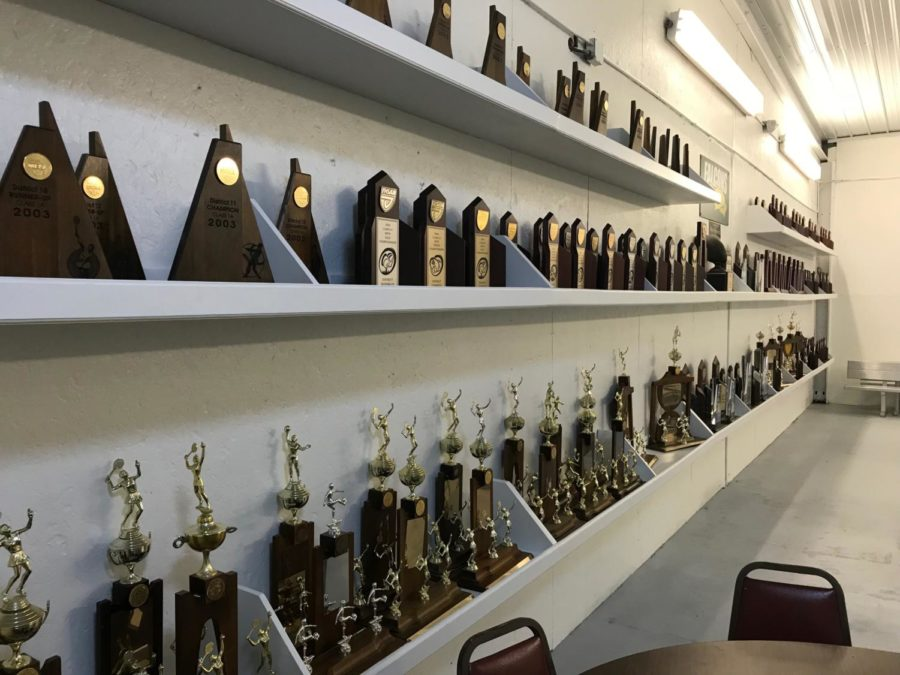 The new trophy room in above the gym demonstrates the achievements of Falcon athletics over the years.