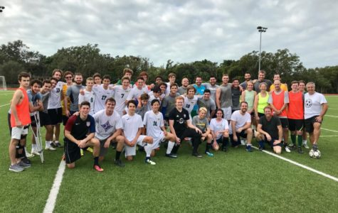 Alumni players return for fiery soccer game over break