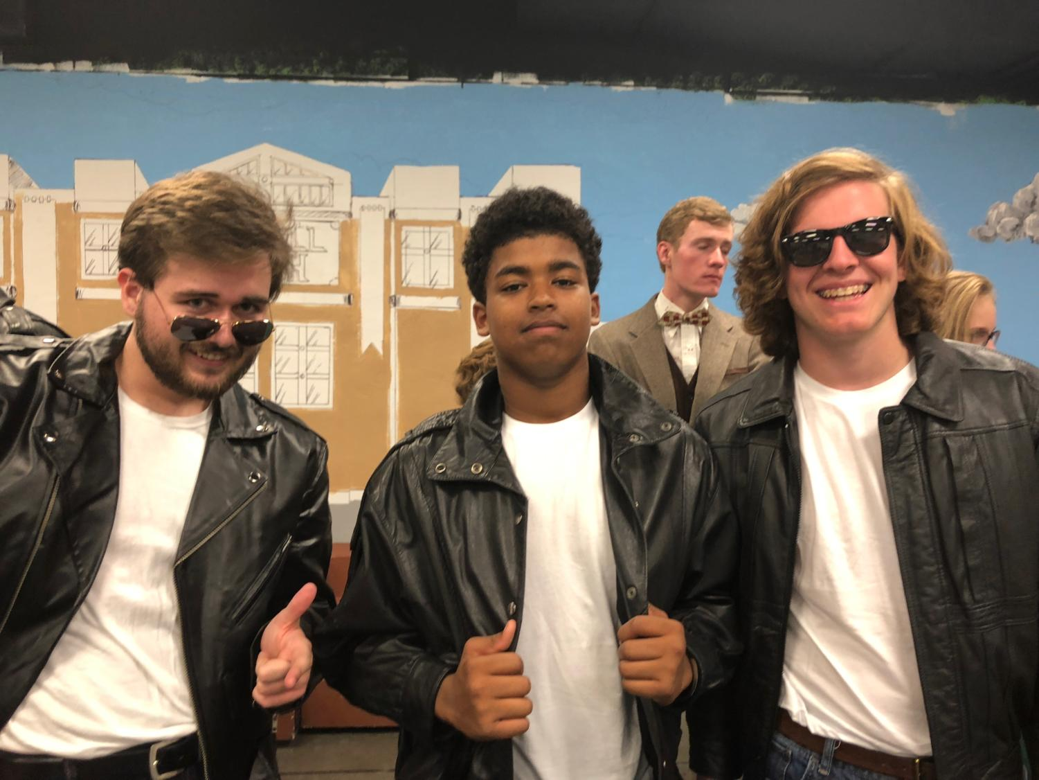 A Grease rehearsal from the 2018 Spring musical. Pictured: Charlie Price (18'), Trystan Brown ('20), and Cam Vining ('20).