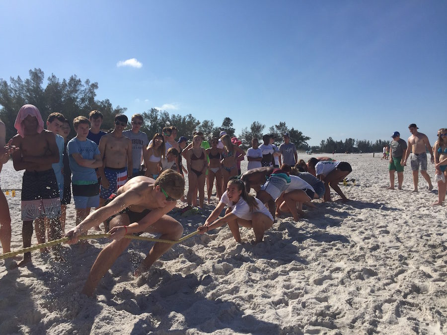 Beach Day on Wednesday featured beach fun, like tug-of-war.  The spirit events were competitive and the sun was a-shining.