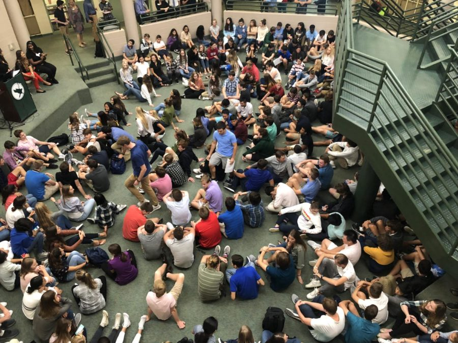Upper School students sit in the commons during Wednesdays' assembly