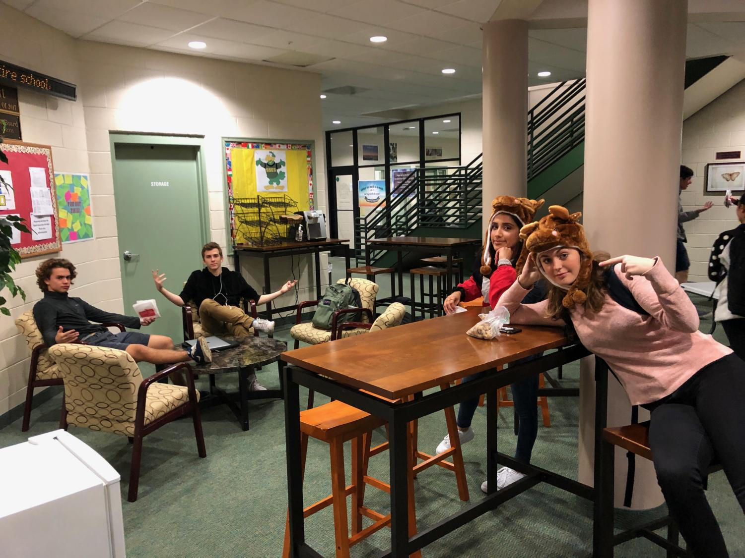 Seniors Zoey Block, Rena Parent, Alex Rodriguez and Cade Westberry enjoy the return of the senior lounge.