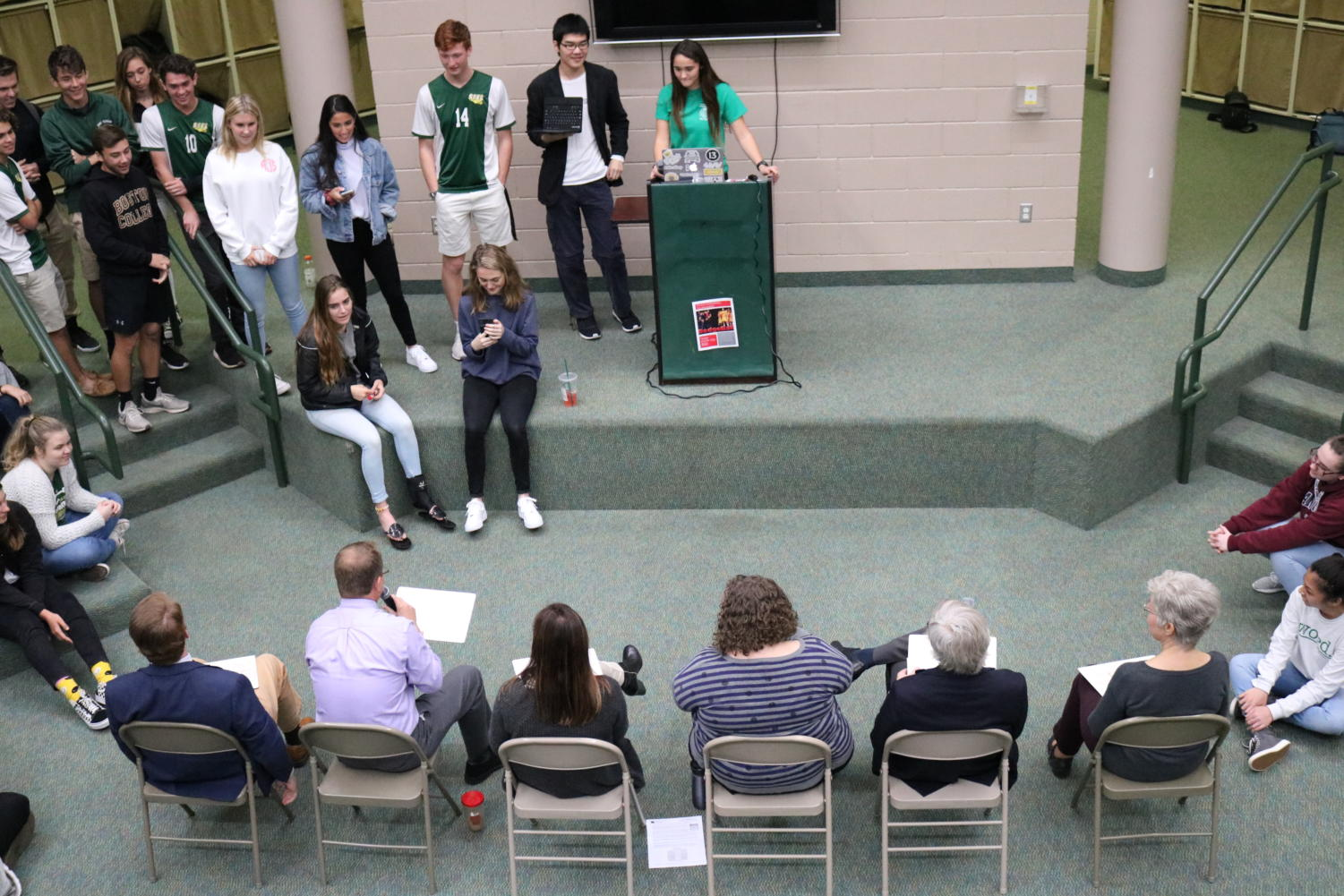 The+department+heads+face+the+Student+Council+President+Ashleigh+Rodhouse%2C+who+delivered+the+questions.++