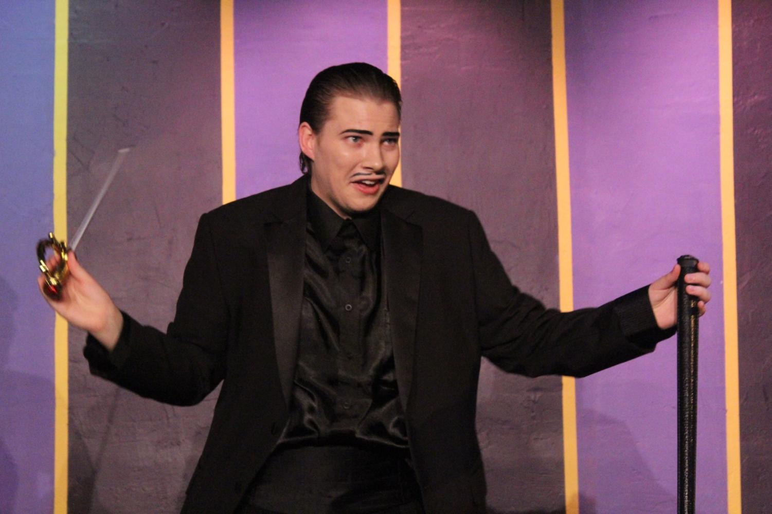 Dylan Zoller shows the audience his acting skills on the opening night of the Addams Family Musical.