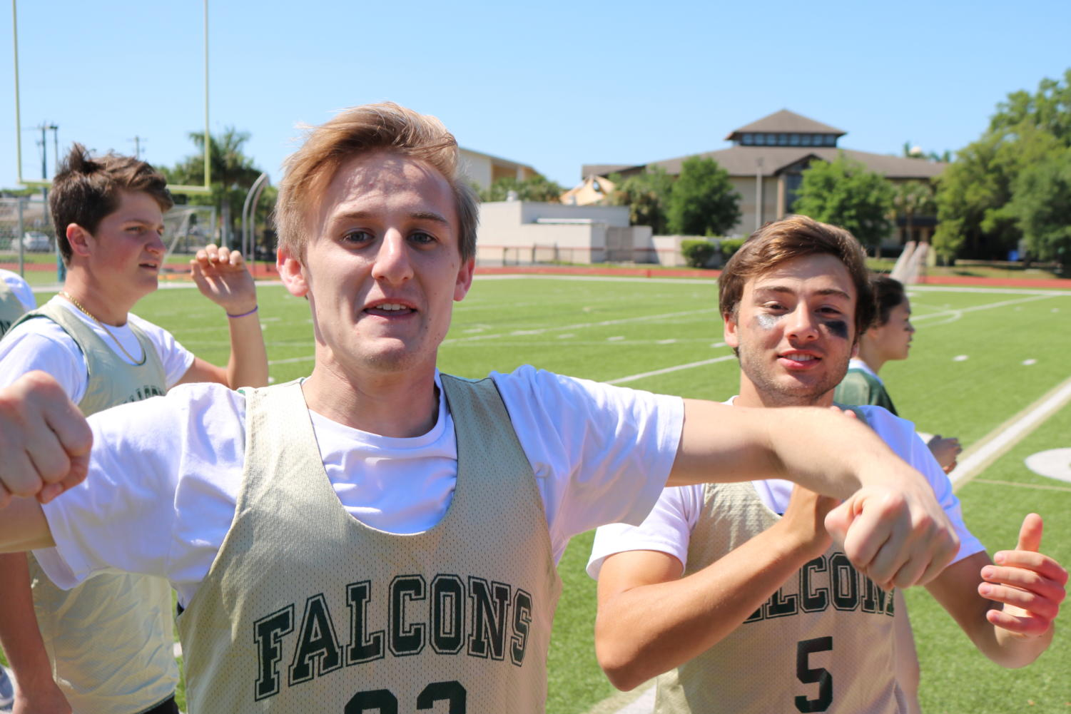 Seniors Jim Class, Ben Tobio, and Dalton Francis getting hyped