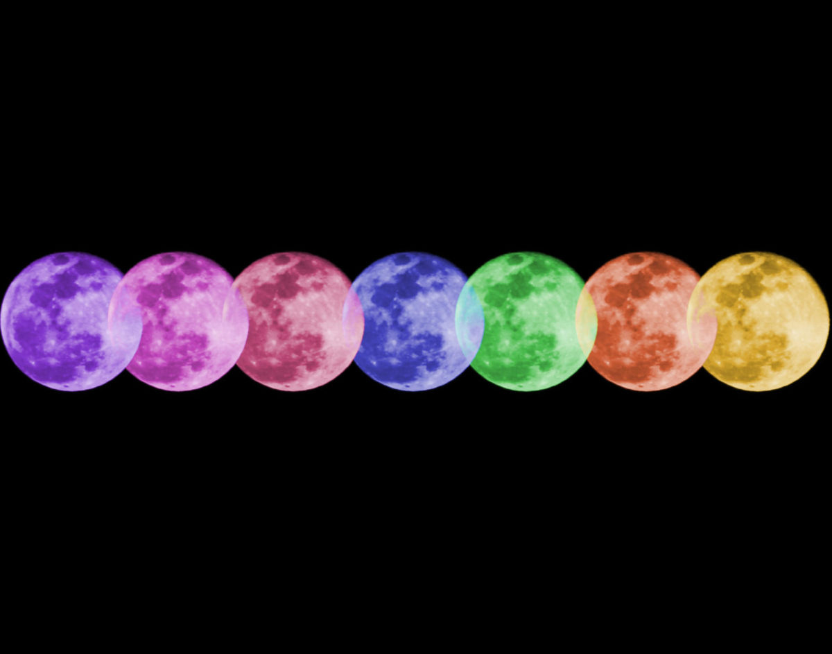 Alex Sket shows his skills in photoshopping by creating a collage of different colored moons.