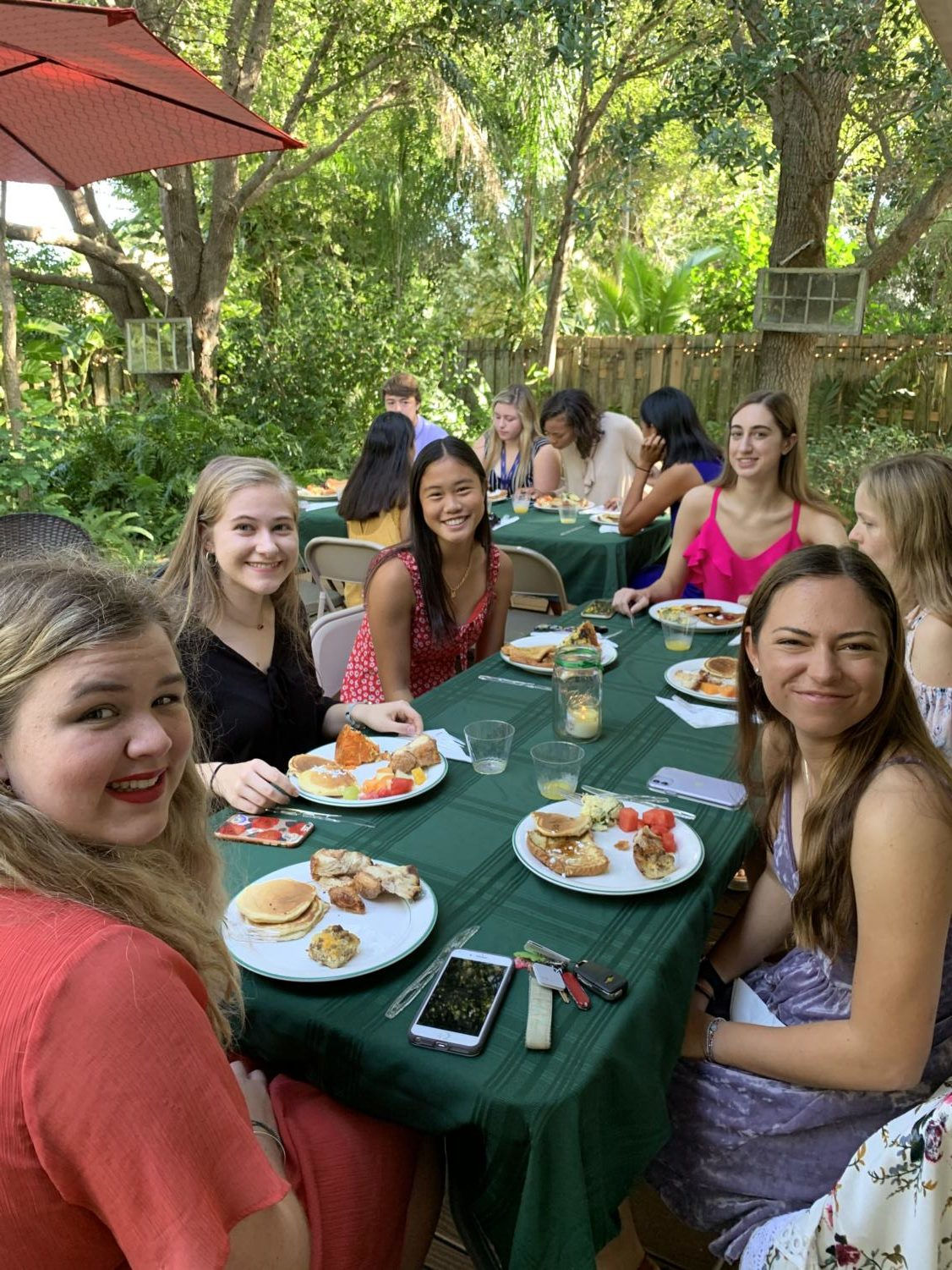 A+group+of+senior+girls+have+a+relaxing+morning+as+they+take+a+break+from+school+to+spend+quality+time+together.