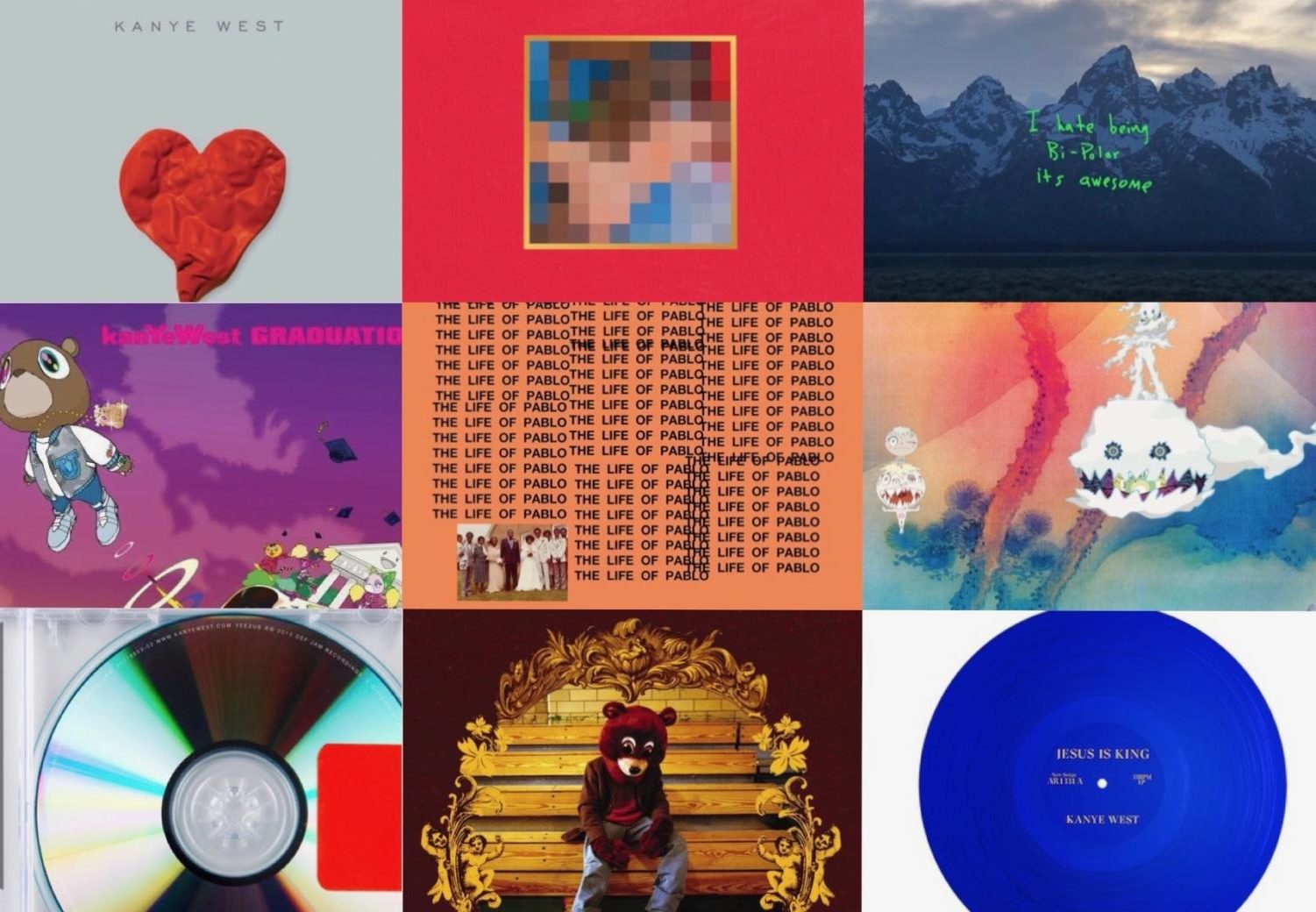 Throughout the years, Kanye West has released many different albums.  On the bottom right is his latest, JESUS IS KING.