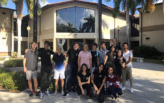 Exchange and Host students pose together for one final picture in the Palm Courtyard