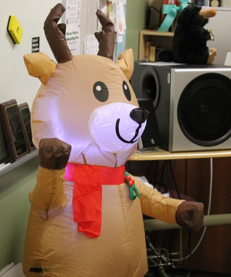 In Mrs. Revard's classroom, she has this blowup reindeer! It is sure to bring cheer to her classroom.