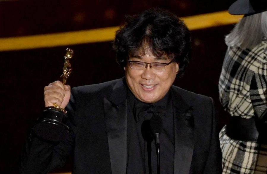 Bong Joon-ho accepting the Oscar for best film.  This was the first time a foreign film got the honor.