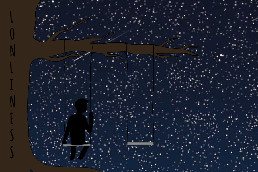 This art work by Gauntlet Staff Writer Evanthia Stirou showcases a young boy sitting alone on a swing suffering from chronic loneliness.