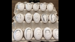 Faculty eggs line up in anticipation of the upcoming battle to see who is the most EggCellent faculty member. Who will win?