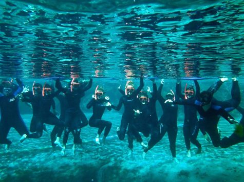 An underwater shot of the Marine students snorkeling.