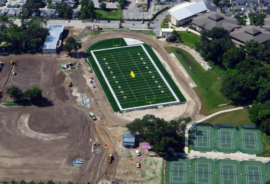 The football field while being constructed.
