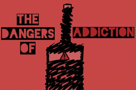 Original art by staff artist, Evanthia Stirou, displaying the dangers of addiction.