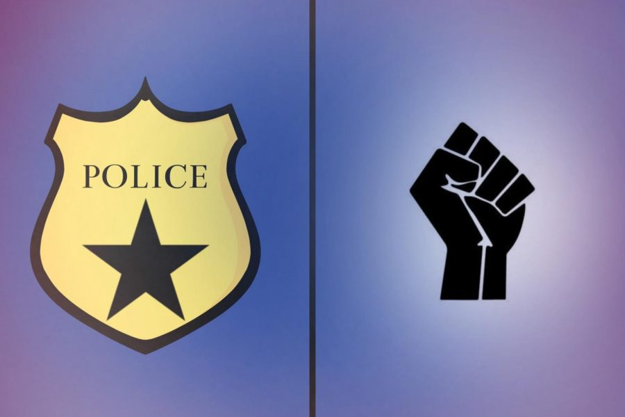 Artwork by staff writer Evanthia Stirou demonstrates the tension between the police and BLM.