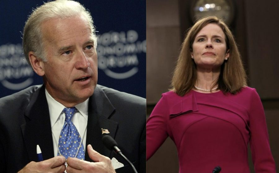 Barrett (right) and Biden (left) are both Catholics, and theyve risen to the highest level of their respective branches of government.