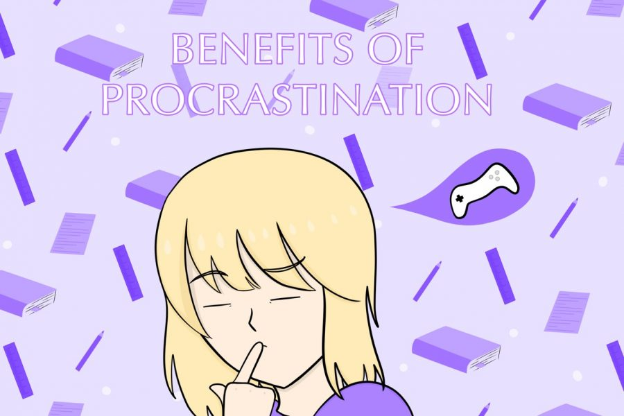 This art work, by staff writer Evanthia Stirou, explains the concept of procrastination: knowing there's work to do but thinking, or doing,  something else.
