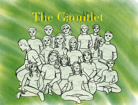 The 2020-2021 Gauntlet staff, as depicted by Sarabeth Wester.