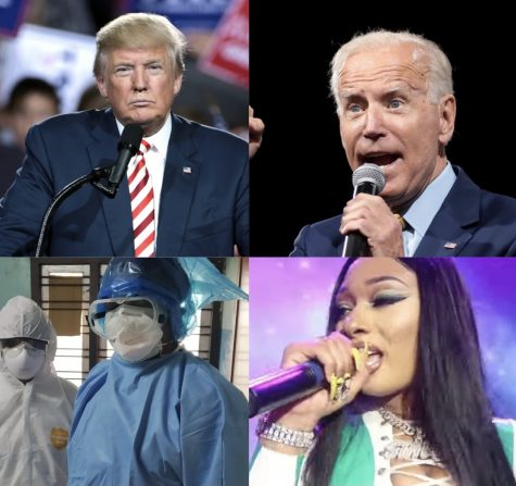 From Left to right, top then bottom. Donald Trump, Joe Biden, Health Care Workers and Megan Thee Stalion changed the world and influenced many in 2020.