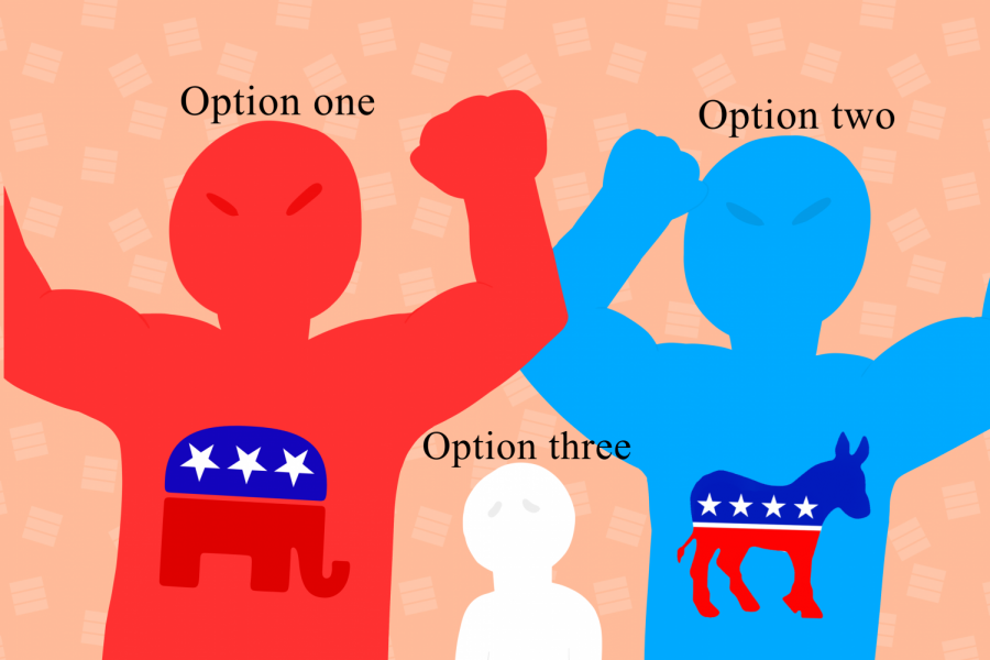Art by: Evanthia Stirou. Depicts the two main parties and a meek third party.
