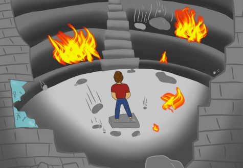 An arena, collapsing down around someone. Their feet are stuck and they stand and watch as it all falls down.