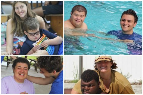 A collage of photos taken at Dream Oaks Camp featuring Caroline Pope, Alex McLemore and Camp Director Bryanna Shepard alongside several campers.