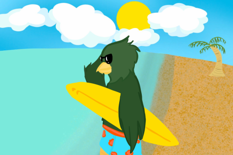 Freddy Falcon went surfing this summer. What did you do? Original artwork by Evanthia Stirou.
